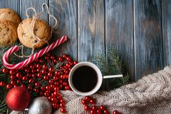 Coffee cup cookie holiday decor christmas leisure Royalty Free Stock Image