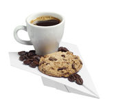 Coffee cup and cookie on a paper plane Royalty Free Stock Images