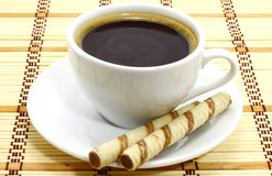 Coffee cup with cookies Stock Images