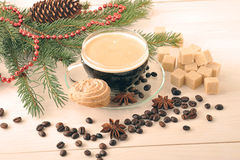 Coffee Cup with cookies on a Christmas background Stock Image