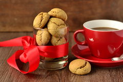 Coffee cup and cookies Stock Photos