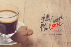 Coffee cup and cookies with handwritten script Stock Photography