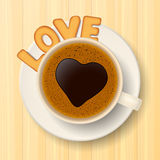 Coffee cup, cookies and love Royalty Free Stock Photo