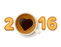 Coffee cup and cookies for New Year 2016 Stock Images