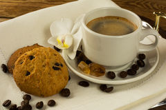 Coffee cup and cookies on the serving tray Stock Photo