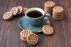 Coffee cup with cookies  on table Stock Photography