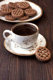 Coffee cup with cookies  on table Royalty Free Stock Image