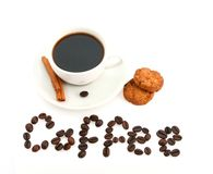 Coffee cup, cookies and text made of coffee beans Stock Photography