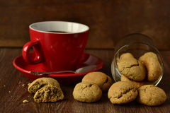 Coffee cup and cookies Royalty Free Stock Photo