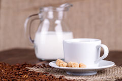 Coffee cup, cream, coffee grains and cane sugar Stock Images