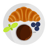 Coffee cup with croissant, blueberry and mint. Flat lay style. Vector illustration vector illustration