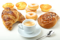 Coffee cup croissant cake and donuts Royalty Free Stock Photography