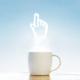 Coffee cup with  cursor symbol Stock Photos