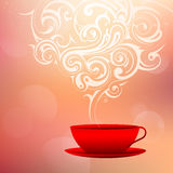 Coffee cup with decorative smoke Royalty Free Stock Images