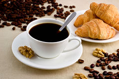 Coffee. Cup of coffee with a delicious dessert Royalty Free Stock Image