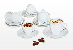 Coffee cup design. Cappuccino cup arrangement with foam design and beans Stock Photography