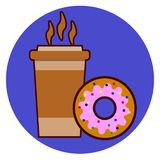 Coffee cup and donut icon vector illustration isolated on background Royalty Free Illustration