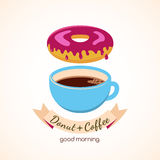 Coffee cup and donut with pink sweet cream, vector food illustra Stock Images