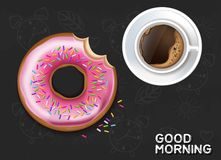 Coffee cup and donut Vector realistic. Product placement mock up. Top view 3d illustrations. Dark backgrounds. Coffee cup and donut Vector realistic. Product royalty free illustration