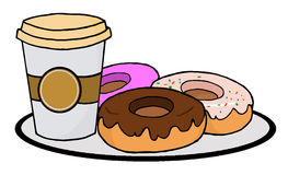 Coffee cup with donuts Royalty Free Stock Photography