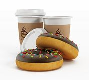 Coffee cup and donuts isolated on white background. 3D illustration Royalty Free Stock Photography
