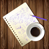 Coffee cup and drawing business strategy plan. Concept idea on wooden table. Workflow layout Royalty Free Stock Photography