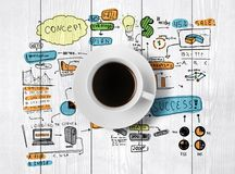 Coffee cup and drawing business strategy Royalty Free Stock Images