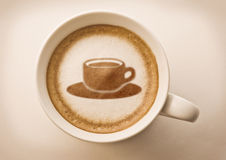 Coffee cup drawing in coffee cup Royalty Free Stock Photography