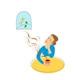 coffee cup dressing girl gown morning white Κορίτσι, πίνακας, φλυτζάνι, παράθυρο και πουλί μπλε διάνυσμα ουρανού ουράνιων τόξων ε διανυσματική απεικόνιση