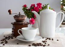 coffee cup dressing girl gown morning white Στοκ Εικόνες