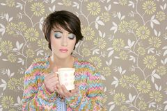 Coffee cup drinking retro fashion 60s woman Stock Images