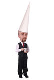 Coffee cup dunce man Royalty Free Stock Photos