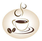 Coffee cup emblem Stock Photos