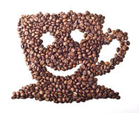 Coffee Cup with face and smile. From Coffee beans on white isolated background Royalty Free Stock Photo