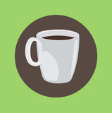 Coffee cup filled with coffee flat design Stock Images