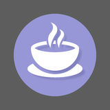 Coffee cup flat icon. Round colorful button, Cafe circular vector sign with shadow effect. Flat style design. Stock Photo
