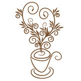 Coffee cup with floral heart image illustration Stock Photos