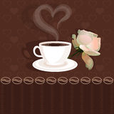 Coffee cup and flower rose Royalty Free Stock Image