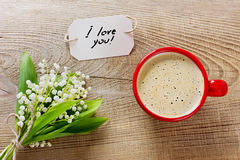 Coffee cup with flowers Stock Image