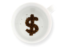 Coffee cup - Fortune telling money Royalty Free Stock Photo