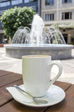 Coffee cup and fountain background. Coffee cup on table and fountain background Royalty Free Stock Photo