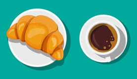 Coffee cup and french croissant. Coffee hot drink. Concept for cafe, restaurant, menu, desserts, bakery. Breakfast top view. Vector illustration in flat style stock illustration