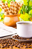 Coffee cup with fresh coffe beans Stock Image