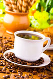Coffee cup with fresh coffe beans Royalty Free Stock Image