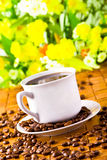 Coffee cup with fresh coffe beans Royalty Free Stock Photos