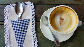 Coffee cup or fresh coffee on wooden table in morning time Royalty Free Stock Images
