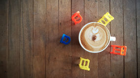 Coffee cup or fresh coffee on wooden table in morning time Stock Photo