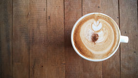 Coffee cup or fresh coffee on wooden table in morning time Royalty Free Stock Image