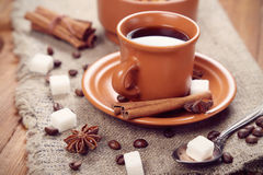 Coffee. Cup of fresh hot coffee of coffee, in surroundings sweetnesses royalty free stock photos