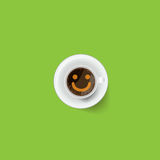 Coffee cup  with froth in the form of smiley face.  Stock Images